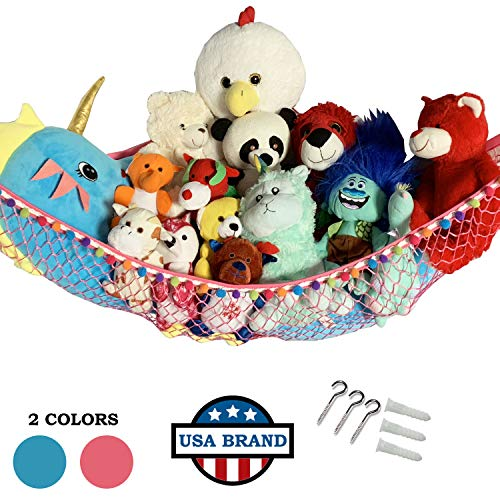 HOME4 Stuffed Animal Toy Storage Hammock Net with Fun Color Balls Rag Tie - Organize Small, Large, Or Giant Stuffed Animals (Pink)