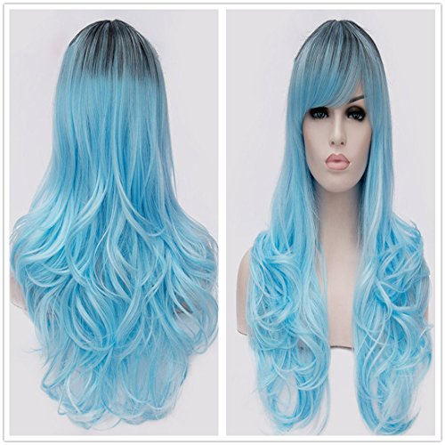 B-G Charming Women Long Curly Black Root To Blue Wigs Heat Resistant Synthetic Hair Wigs For Cosplay Party With 1 Wig Cap (Curly Blue Wig)