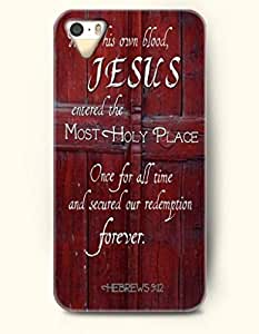 iPhone 4 / 4s Case His Own Blood Jesus Enterd The Most Holy Place Once For All Time And Secured Our Redemption Forever Herews 9:12 - Bible Verses - Hard Back Plastic Case - OOFIT Authentic