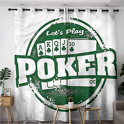 - AndyTours Custom Curtains,Poker Tournament Royal Flush Grunge,Great for Living Rooms & Bedrooms,W72x84L