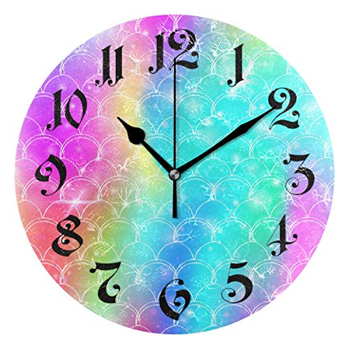 - Tarity Silent Round Wall Clock, Rainbow Scales Pattern Decorative Quiet Non Ticking Battery Operated Art Wall Clocks for Living Room Bedroom Office Kitchen Kids