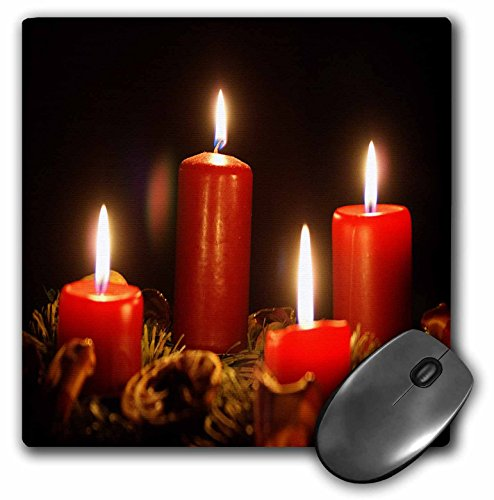 3dRose Taiche - Photography - Christmas - Red Advent Calendar Candles Burning With Black Background - MousePad (mp_181633_1) ()