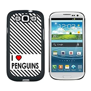 I Love Heart Penguins - Snap On Hard Protective Case for Samsung Galaxy S3 - Black by icecream design