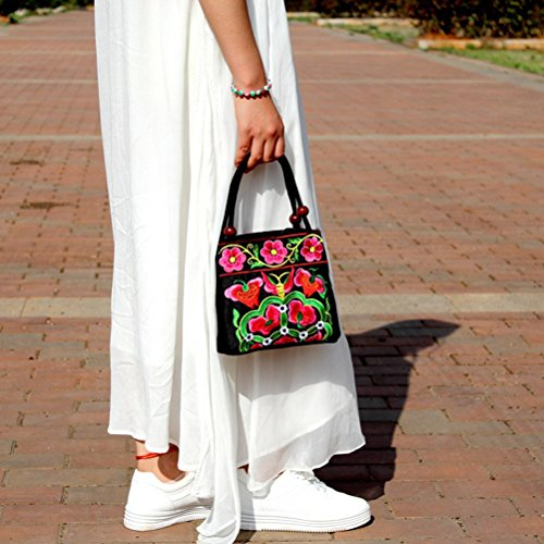 red Handbag Bestoyard Canvas Embroidery Handmade Bag Retro Ethnic Women Tote Flower vqTSFH