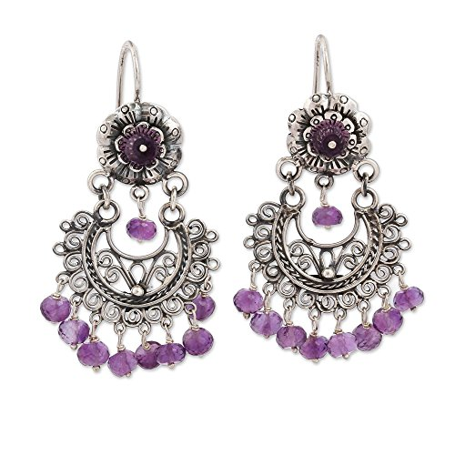 NOVICA Amethyst .925 Sterling Silver Chandelier Earrings 'Blooming - Sterling Amethyst Chandelier Silver