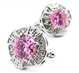 LBFEEL Classic Big Pink Stone Cufflinks for Men in Square Shape