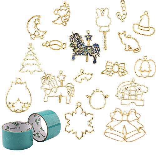 17 joyas de metal collar de joyas de bricolaje pulsera accesorios con sombrero mágico, cabeza de calabaza, alas demonio,...