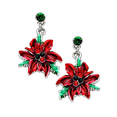 Nice Kigmay Jewelry Christmas Gifts for Women Crystal Enamel Christmas Poinsettia Earrings for cheap
