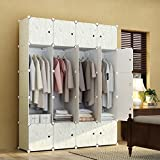 KOUSI Portable Closet Clothes Wardrobe Bedroom Armoire Storage Organizer with Doors, Capacious & Sturdy,White with Wood Grain Pattern, 8 Cubes&4 Hangers