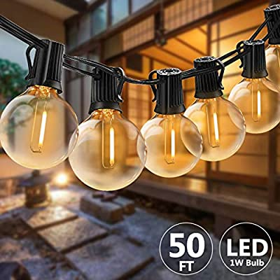Svater Waterproof Outdoor String Lights 50FT LED Commercial Grade Patio Lights with 46 Hanging Socket 50 G40 Bulbs Connectable Ambience Pro Indoor Outdoor Lights for Cafe Garden Backyard Party - POWERFUL BULB STRING LIGHTS : 50ft per strand with 46pcs E12 sockets , 50pcs G40 LED bulbs which is powerful to light up your outdoor space. Multi-STRANDS CONNECTABLE : Svater Globe LED string light are end to end connectable up to 20 strands, feel free to customize your arrangements. Sockets will fit any bulb with compatible E12 base that you have the option of switching up your style. ENERGY SAVING: Svater G40 LED String Light save over 90% energy over incandescent bulbs. Long lifespan last 30,000 hours can reduce maintenance costs on changing bulbs frequently. Weatherproof strong rubber wire and socket can tear of indoor or outdoor use all year. - patio, outdoor-lights, outdoor-decor - 51T1kk01qbL. SS400  -