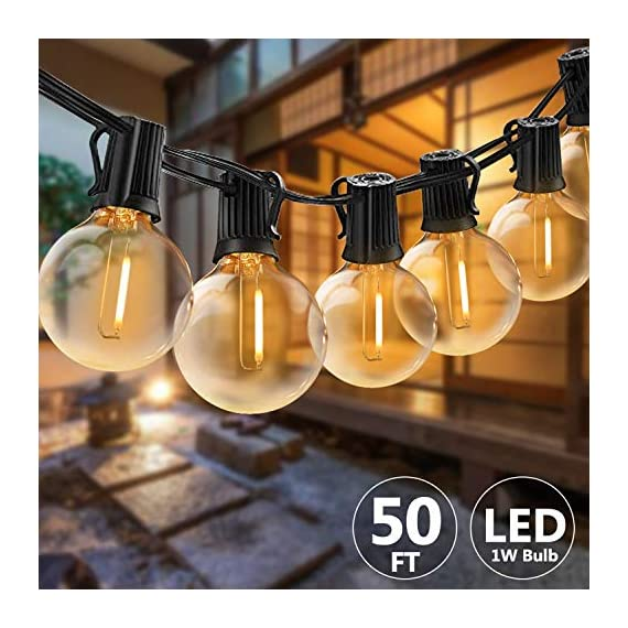 Svater LED Outdoor String Lights,50FT Patio Lights with 46pcs E12 Socket, 50pcs 2700K Warm White G40 Bulbs,Indoor… - POWERFUL BULB STRING LIGHTS : 50ft per strand with 46pcs E12 sockets , 50pcs G40 LED bulbs which is powerful to light up your outdoor space. Multi-STRANDS CONNECTABLE : Svater Globe LED string light are end to end connectable up to 20 strands, feel free to customize your arrangements. Sockets will fit any bulb with compatible E12 base that you have the option of switching up your style. ENERGY SAVING: Svater G40 LED String Light save over 90% energy over incandescent bulbs. Long lifespan last 30,000 hours can reduce maintenance costs on changing bulbs frequently. Weatherproof strong rubber wire and socket can tear of indoor or outdoor use all year. - patio, outdoor-lights, outdoor-decor - 51T1kk01qbL. SS570  -