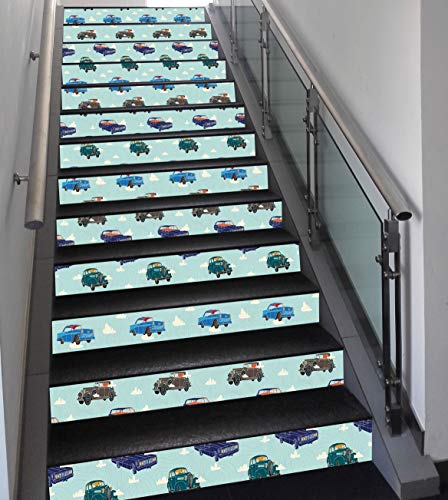 Stair Stickers Wall Stickers,13 PCS Self-adhesive,Cars,Absurd Design with Vintage Cars in the Air with Clouds Old Vehicles Pattern,Pale Blue Teal Umber,Stair Riser Decal for Living Room, Hall, Kids Ro]()