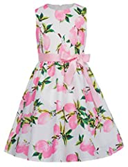 About The Dresses: Sleeveless Round neck Zipper fastening in the back Matched belt is removable Vibrant pattern Dress has lining layer 70%Polyester + 30%Cotton Great for Wedding Party, Fairy Princess Party, Birthday Party and Casual Wear.ATTE...