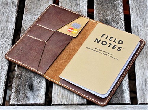 JP Leathercraft Handmade SCRIBO Field Notes Cover Wallet Amber Shell Shock Leather - Amber Wallet