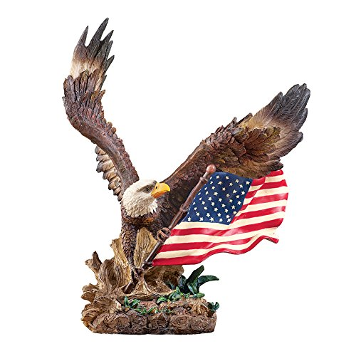 (Collections Etc Patriotic Bald Eagle with American Flag Tabletop Statue)