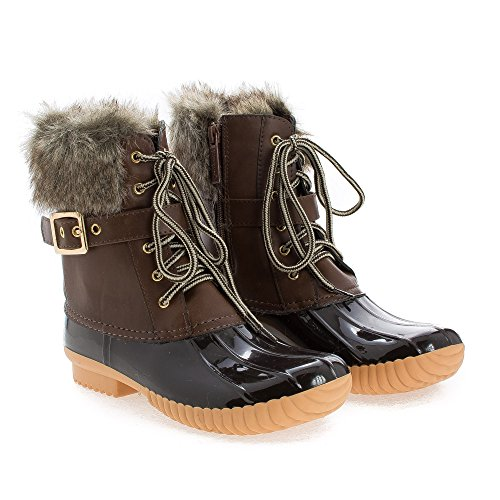 Women's Faux Fur Lace Brown Up amp; Rainboots Shearling Toe Round Pvc CZq06R40