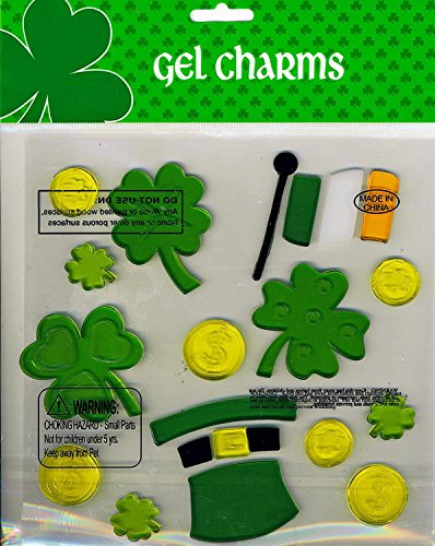 Shamrocks Irish Flag Coins Leprechaun hat St Patrick's Day Gel Window Clings