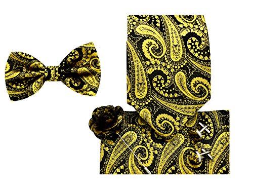 Oliver George 5pc Box Set (Paisley-Gold/Black-K) Black Gold Tie Pin
