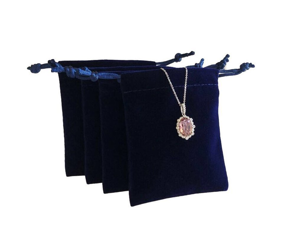 Svea Display 20-Count Navy Blue Velvet Gift Bags Premium Grade Material Beautiful Fine Jewelry Packaging Storage Protection Trade Shows (20 PCs)