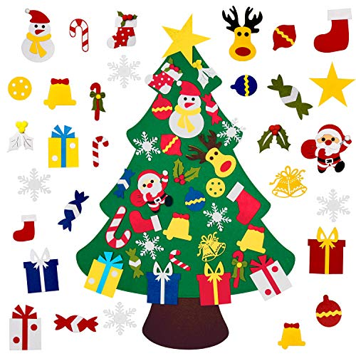 Fayoo DIY Felt Christmas Tree with 30pcs Ornaments, Xmas Gifts for Kids New Year Handmade Christmas Door Wall Hanging Decorations