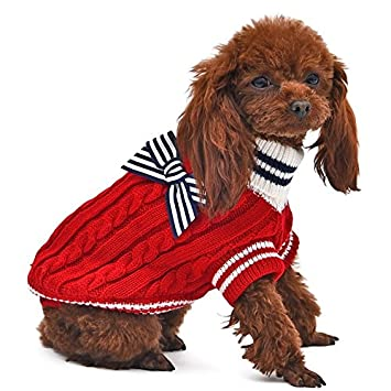 QianHaoQJu Suéter de Cuello Alto para Mascotas con Bowknot Abrigo de Invierno para Perros Cachorro de
