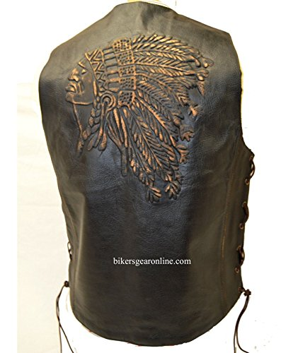 Men's Motorcycle Bikers Retro Brown Leather Vest Native American Back Side Laces (44 Regular)