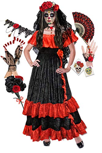 Discount Plus Size Halloween Costumes (Plus Size Day of The Dead Halloween Costume Deluxe Kit)
