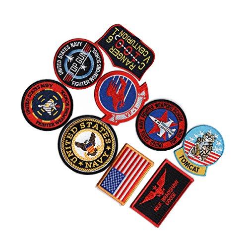 [Top Gun movie US Navy Nick Bradshaw Goose Flight Suit Costume 9pc iron on Patch set] (Top Gun Costume Patches)