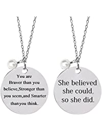 2 Pcs Stainless Steel Inspirational Necklace Jewelry Lettering Pendant Necklace Gift for Women Girls - You Are...
