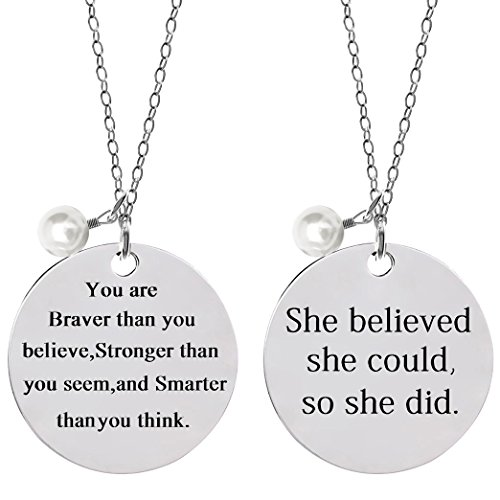 Bassion 2 Pcs Stainless Steel Inspirational Necklace Jewelry Lettering Pendant Necklace Gift...