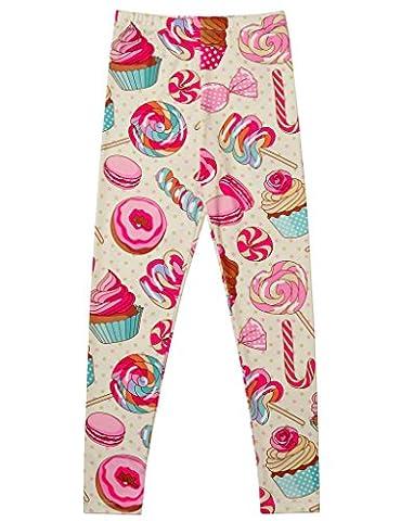 Jxstar Big Girls Pants Sweet Print Candy Cake Pattern Ankle Length Basic Leggings Candy 140 - Pink Cupcake Print