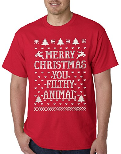 New Way - 184 Unisex T-Shirt Merry Christmas You Filthy Animal 3XL Red