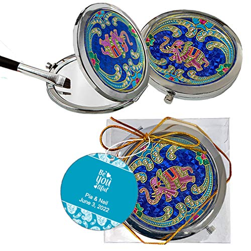 Personalized Lucky Elephant Compact Mirror for Purses for Indian Return Gifts, Wedding Favors for Guests, Elephant Favors for Women and Girls, Diwali Decorations and Gifts, Bridal Shower, Set of 5