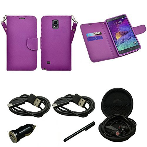 (Mstechcorp - Huawei Tribute Y536 (AT&T) - Wallet Case,PU Leather Case,Cut,Credit Card Holder,Flip Cover Skin Credit ID Card Slot Holder Phone - Includes [Car Charger] + [Touch Screen Stylus] + [Hands Free Earphone With Carrying Case] + [2 Data Cables] (WALLET PURPLE))