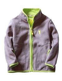 Boys Polar Fleece Jacket Long Sleeve Stand Colar Hand Pockets Outwear 2-8T