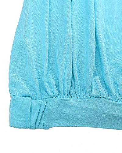 Et Plage Sans Bustier Ciel Shirt Bretelles Dbardeurs ZANZEA Bleu Top Femme Manche T Sexy Sans Fronc Slim Haut 4xwnq67gZ