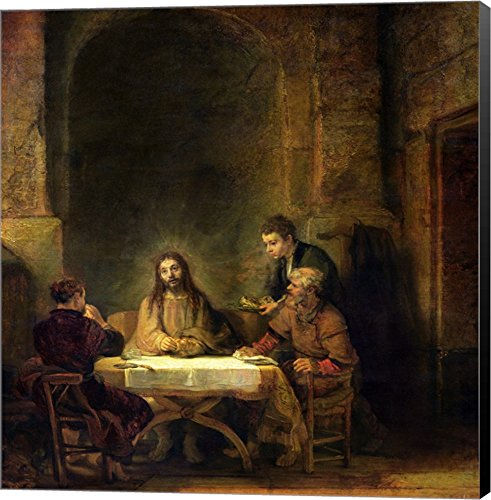(The Supper at Emmaus, 1648 by Rembrandt Van Rijn Canvas Art Wall Picture, Museum Wrapped with Black Sides, 25 x 26 inches)