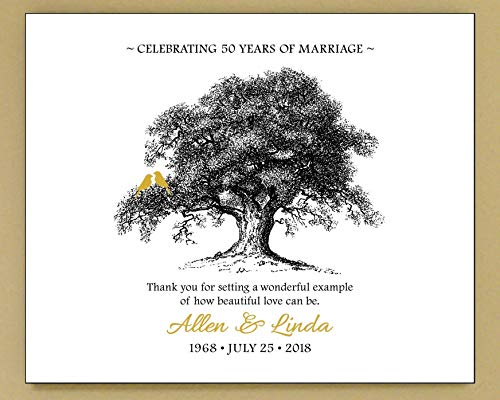 50th Wedding Anniversary Gift for Parents Grandparents, Golden Anniversary - Personalized Art Print