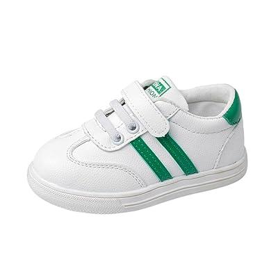Fineser Baby Kids Rubber Crib Shoes, Boys Girls Leather Anti-Slip Running Sport Sneakers