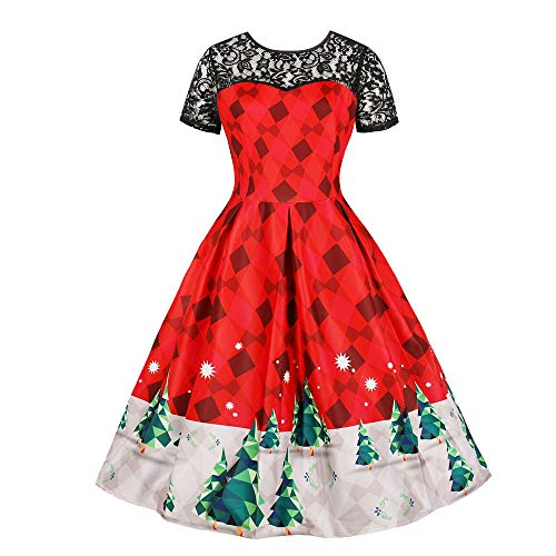 Womens Vintage Dress KIKOY Lace Short Sleeve Print Christmas Party Swing Dress (3XL, Red#)