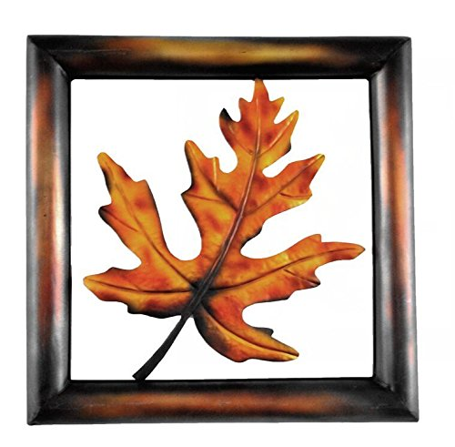 (YL Crafts - Metal Wall Art Modern and Contemporary Hand-painted Golden Yellow Maple Leaves Wall Decor for living room, 18 by 18 Inches)