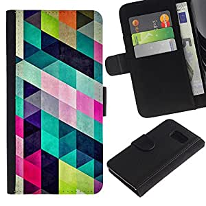 KingStore / Leather Etui en cuir / Samsung Galaxy S6 / Patrón de diseño de moda colorida