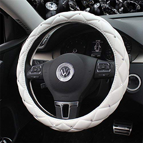 Follicomfy Comfort Leather Auto Car Steering Wheel Cover,Anti Slip Universal 15 Inch Diamond&Crown,White
