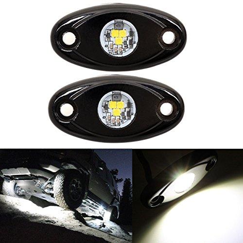 (LED Rock Light White Offroad JEEP ATV SUV Truck Boat Underbody Glow Trail Rig Lamp Waterproof (2PCS,White))