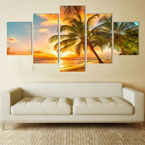 PEACOCK JEWELS [LARGE] Premium Quality Canvas Printed Wall Art Poster 5 Pieces/5 Pannel Wall Decor Sea Beach Painting, Home Decor Pictures - Stretched