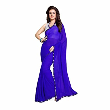 e6898bc702da7 Amazon.com  Solid Bollywood Synthetic Georgette Saree (Blue)  Clothing