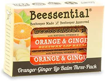 Beessential Beeswax Lip Balm, Orange Ginger, 3 Count