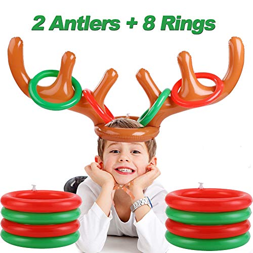 2 Pcs Christmas Party Favors Inflatable Reindeer Antler Ring Toss Indoor Outdoor Party Games for Kids, Fun Christmas Party Supplies Carnival Game for Holiday Family School Party (2 Antler 8 Rings) (Party Games Family Christmas Best)