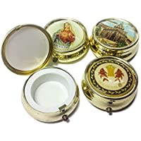 Holy land Keepsake Round Golden Metal Pill Mint Box Case Jerusalem 1.6