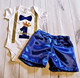 1st 2nd Birthday Royal Blue and Gold boy birthday smash cake prince king onesie bodysuit & shorts smash cake